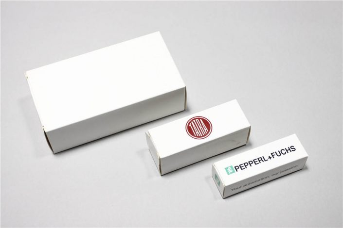 White paper box can be custom into any size to fit in the product. You can leave it blank, or print anything on it.